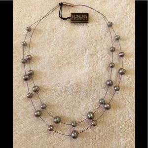 Honora Grey Pearl Double strand necklace